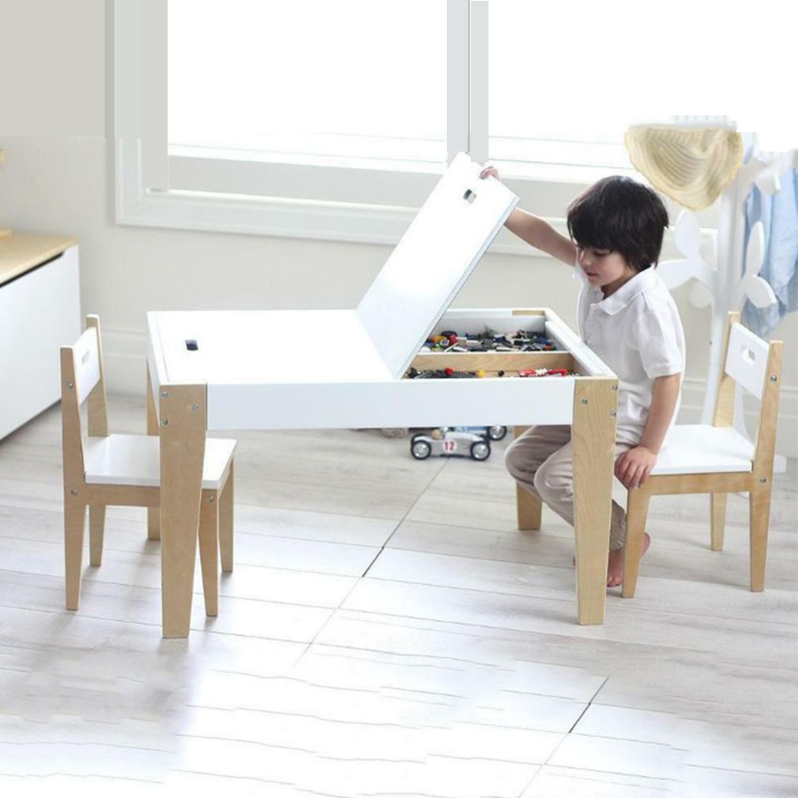 2021 multifunction Wooden Toddler Kids Play Room Children Furniture Sets Table And With Two Chair