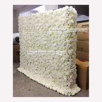 2019 Factory wholesale cream white artificial flower wall for wedding event decoration