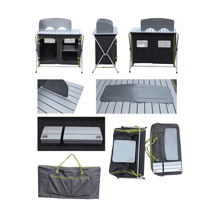 Cloudyoutdoor camping kitchen picnic cabinet table portable folding cooking with large storage space