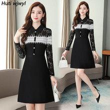 2020 винтажное черное белое кружевное сексуальное мини-платье осень зима 4XL размера плюс с длинным рукавом элегантное женское облегающее веч...(Китай)