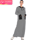 6203#Kaftan Long Sleeve O Neck Striped Pattern Loose Maxi Long Dress Muslim Women Hoodie with Hat
