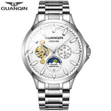 GUANQIN 2018 новые часы мужские водостойкие автоматические светящиеся мужские часы лучший бренд класса люкс Скелет часы мужские, кожаный erkek кол...(Китай)