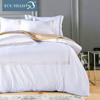 Excellent quality home textile bed sheet solid white blue bedsheet bedding set