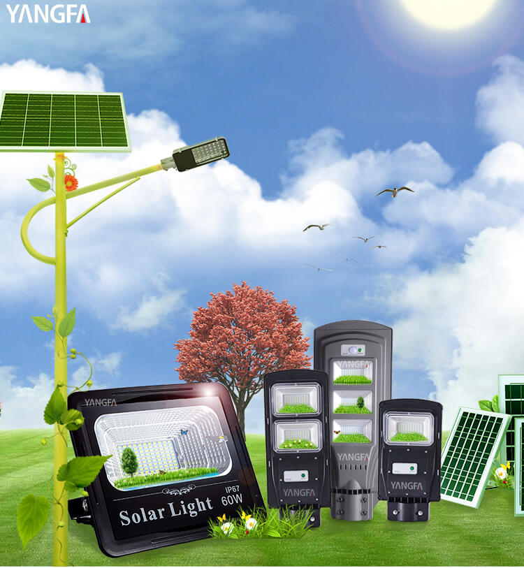 YANGFA outdoor ip65 integrated 60w 90w 120w all in one led solar street light