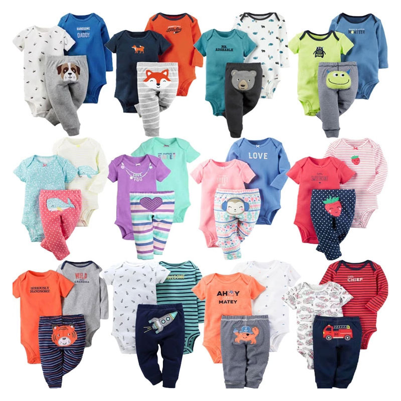 Guangdong 3pcs Baby Clothing Pants Romper Set Suits New Born Baby Clothes Set