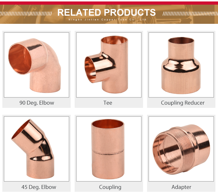 Factory Manufacture Copper  Solder Ring Plumbing Welding Wholesale Reducing Tee Pipe Fitting