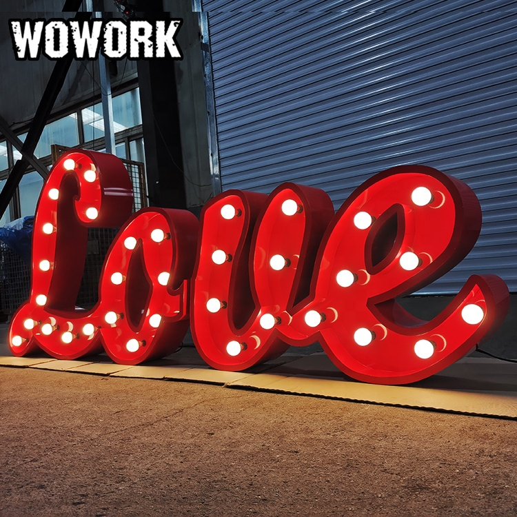 WOWORK custom LED light prop event rental letter backdrop for wedding party decoration