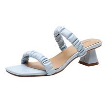 Женские Плиссированные шлепанцы Meotina, белые летние сандалии на среднем квадратном каблуке, большие размеры 40(Китай)