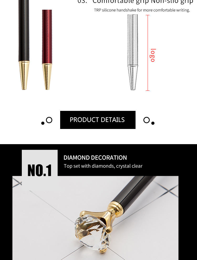 Creative stationery custom printing promotional gift pen multi-color optional customizable logo diamond ballpoint pen
