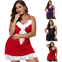 Hot sell Sexy pajamas plus size Women Red Christmas net Transparent sexy lingerie sexy costumes
