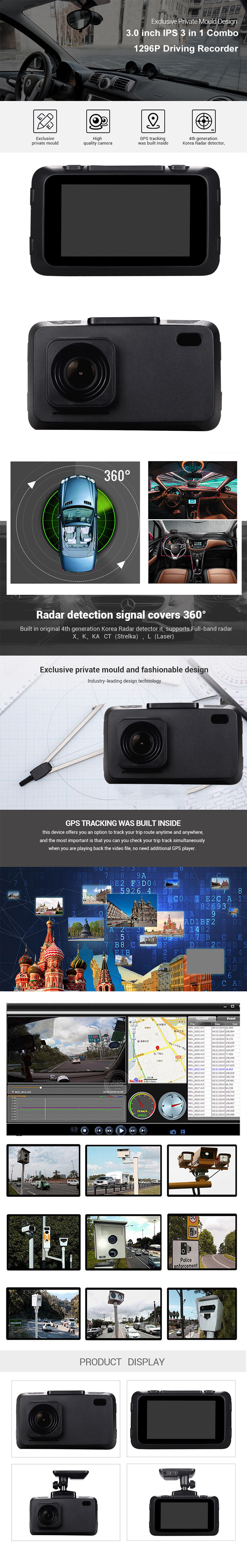 New Russian Anti Radar Detector 3 in 1 Car Dvr GPS Logger 1296P Police Speed Camera WDR Dash Cam