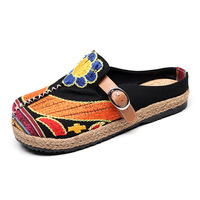 Women Embroidered Shoes China Style Art Print Loafers Slip on Flat Belt Buckle Shoes Ballet Flats Comfortable Ladies Shoes