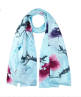 100% Silk Cheap Scarf for Women Cheap Touch Degrade Short Silk Floral Scarf for Women