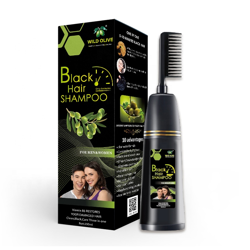 200ML Wild Olive Black <strong>Hair</strong> Shampoo With Comb 100% To Cover The White <strong>Hair</strong> 5 Minutes Fast Dye New Plant -Black After Washing