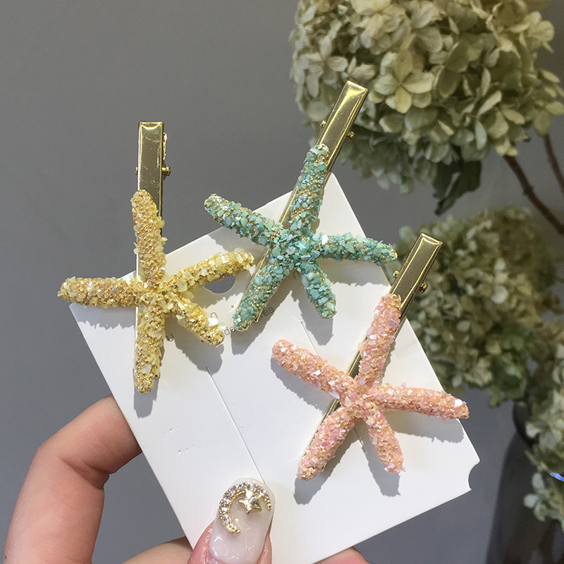 Trade Assurance 2020 Korean holiday style starfish shaped duckbill clip handmade candy color hairpin hair accessories wholesale
