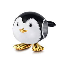 Cute Baby Penguin Charm 925 Sterling Silver Enamel Animal Penguin Beads Fits Bracelets Jewelry