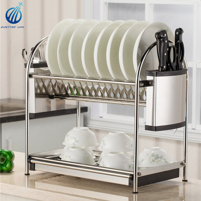 Dish rack and drain board kitchen chrome cup dish drying rack