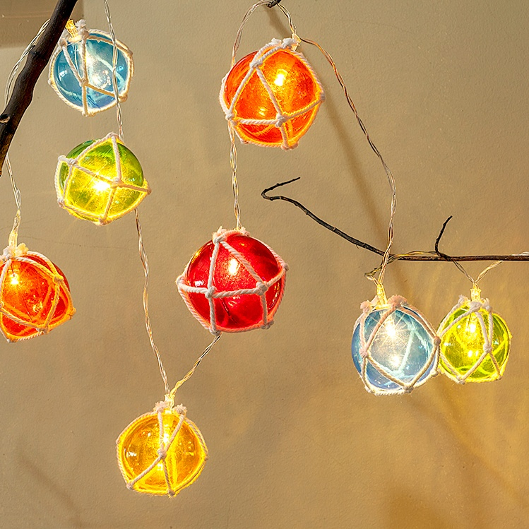 Kanlong lighted christmas decoration 65inch 10LED colorful ball christmas string light rope nets ball led light for holiday