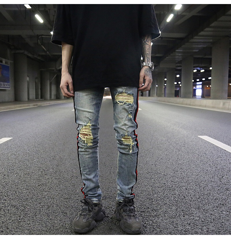 OEM  new style jeans pent men stock dropshipping ripped men track jeans strip jeans for men