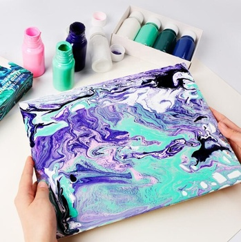 high quality pouring acrylic paint diy rock ceramic canvas phone case acrylic pour paint kit with strainers