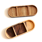 Kitchen Food Sauce Plates Divided Serving Tray Wooden Snacks Dish Tray for Home Kitchen Dining Room