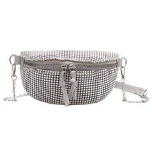 Женская поясная нагрудная сумка, классический дизайн, креативный тонкий дизайн, шикарный ремень на молнии, сумки для кошельков стразы, сумк...(Китай)