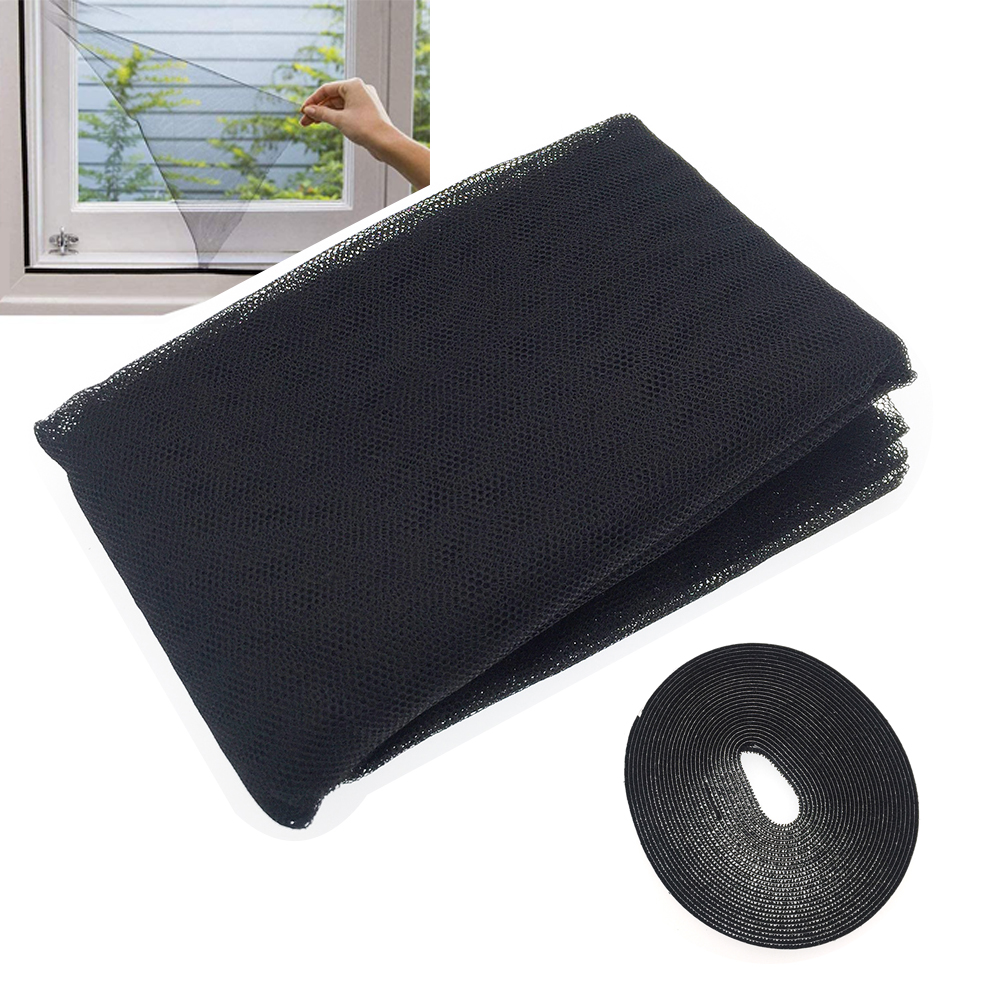 Black DIY Self-Adhesive Window Screen Mesh Net Curtain Invisible Screens Window with Tape Anti Mosquito Easy to Use Take Apart