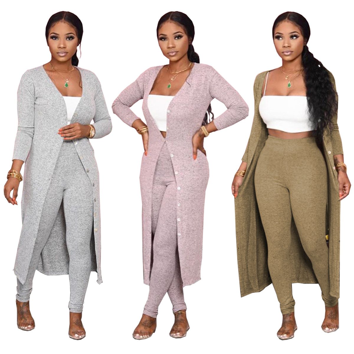 M733 2020 Fashion fall winter two piece pants sets outfits long cardigan for women