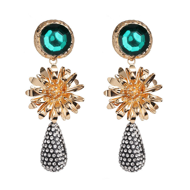 New Za Bohemian Sun Flower Drop Earrings for Women Jewelry Trendy Metal Crystal Statement Earrings Accessories Bijoux