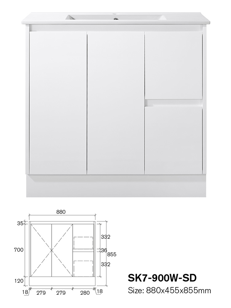 Canada Manufacturer Factory Price With Chocolate Basin Cabinet