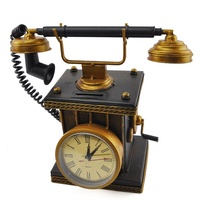 Telephone Model Ornaments With Clock Iron Metal Gifts Retro Phone Photographic Props Decoration Vintage Home Decor Retro