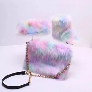 Mommy and me raccoon brown fur slippers slides faux fur boots winter snow boots set matching fur purse handbag boots headband