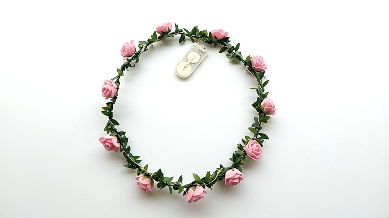 Diadema con luz intermitente para fiesta, corona, Halo, flor LED, para el Día de San Valentín