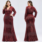 Breathable Dress A009 in Stock Maxi Party Dress Women's Deep V-Neck Sequin Party Dress with Long Sleeve