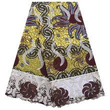Вощёная кружевная ткань в африканском стиле, 5 ярдов в партии, вощёная кружевная ткань в стиле Анкары для платья в нигерийском стиле S1295(Китай)