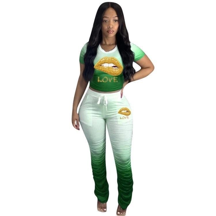女性カジュアル夏の服口レタータイダイ色積み重ねパンツ 2 ピース女性服セット鉛筆ズボン
