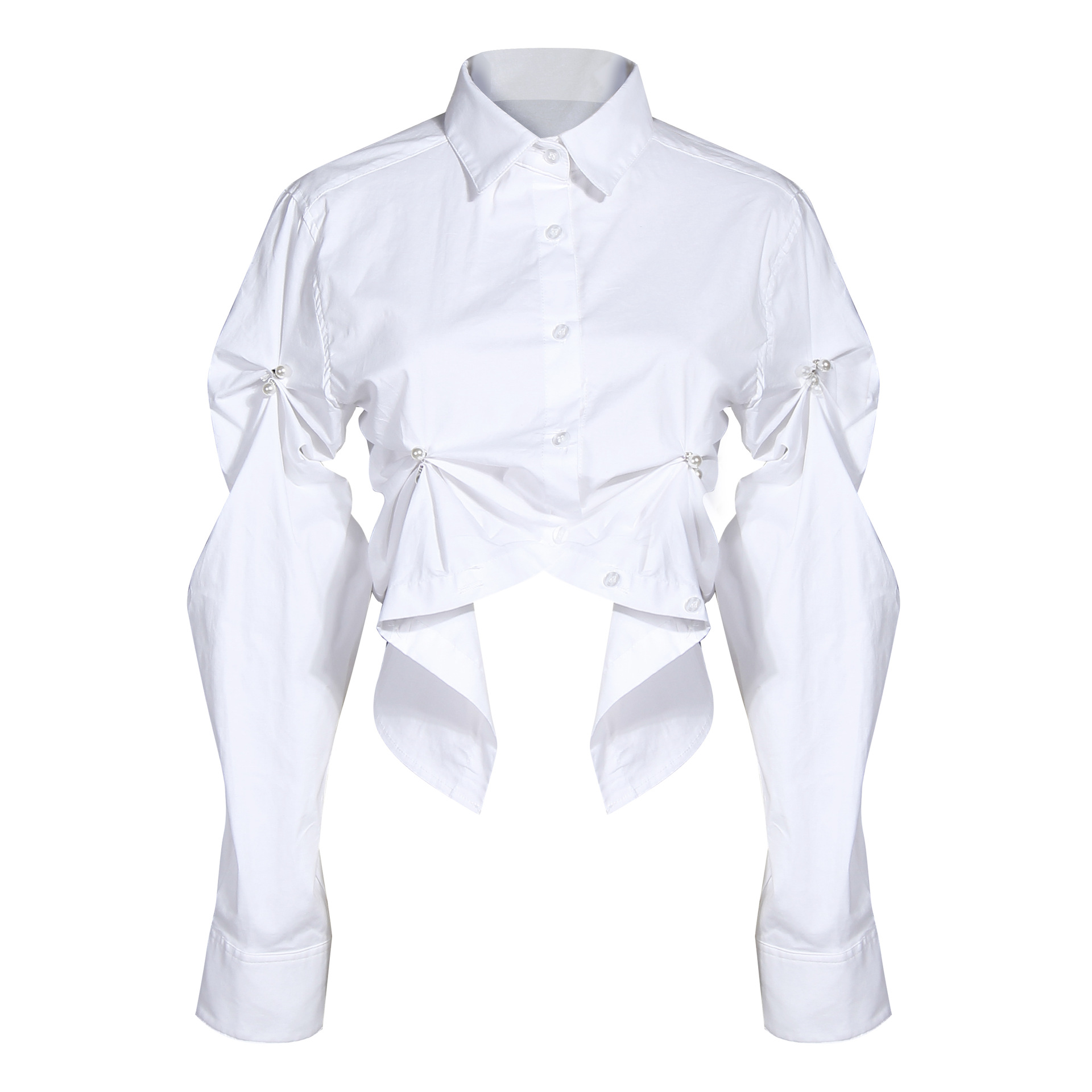 2020 spring new arrivals fashionable design women sewn pearl sleeve shirt pleated long sleeves <strong>cotton</strong> <strong>ladies</strong> top <strong>blouse</strong>
