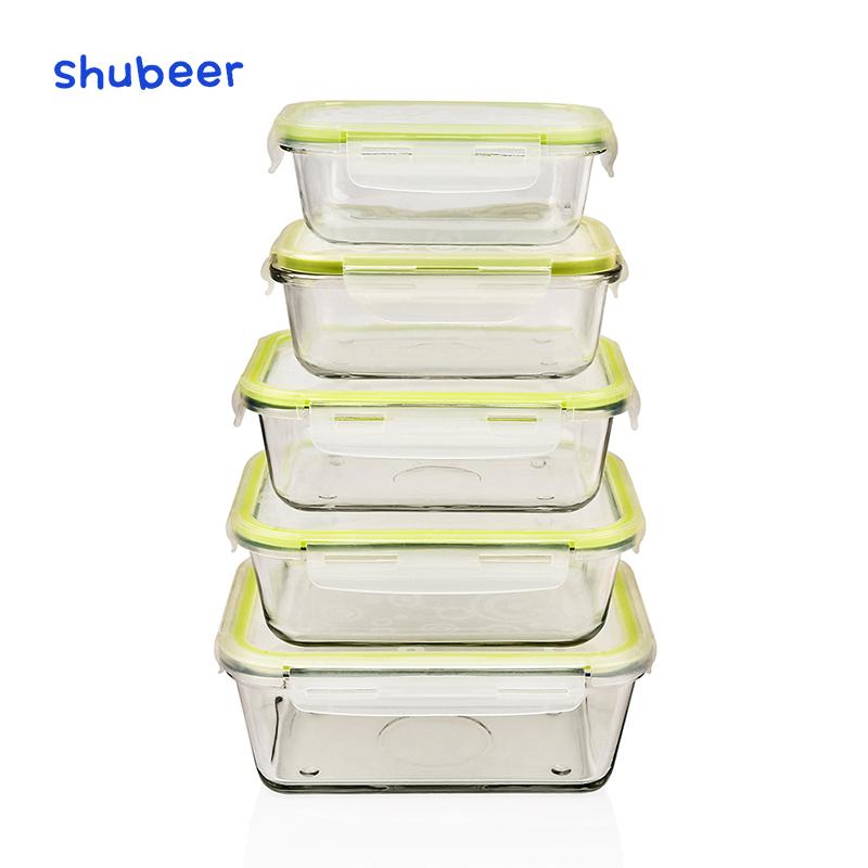 長方形ガラス保存ボックス電子レンジ大容量弁当野菜とフルーツ収納密封された弁当箱