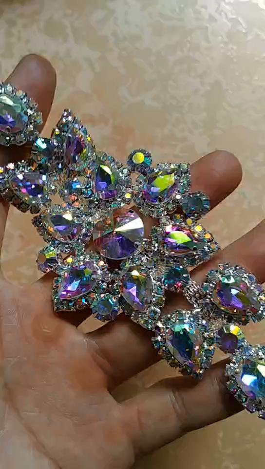 Grosir berlian imitasi applique bordir mutiara bridal sash kristal perhiasan pernikahan appliques MYGAP002