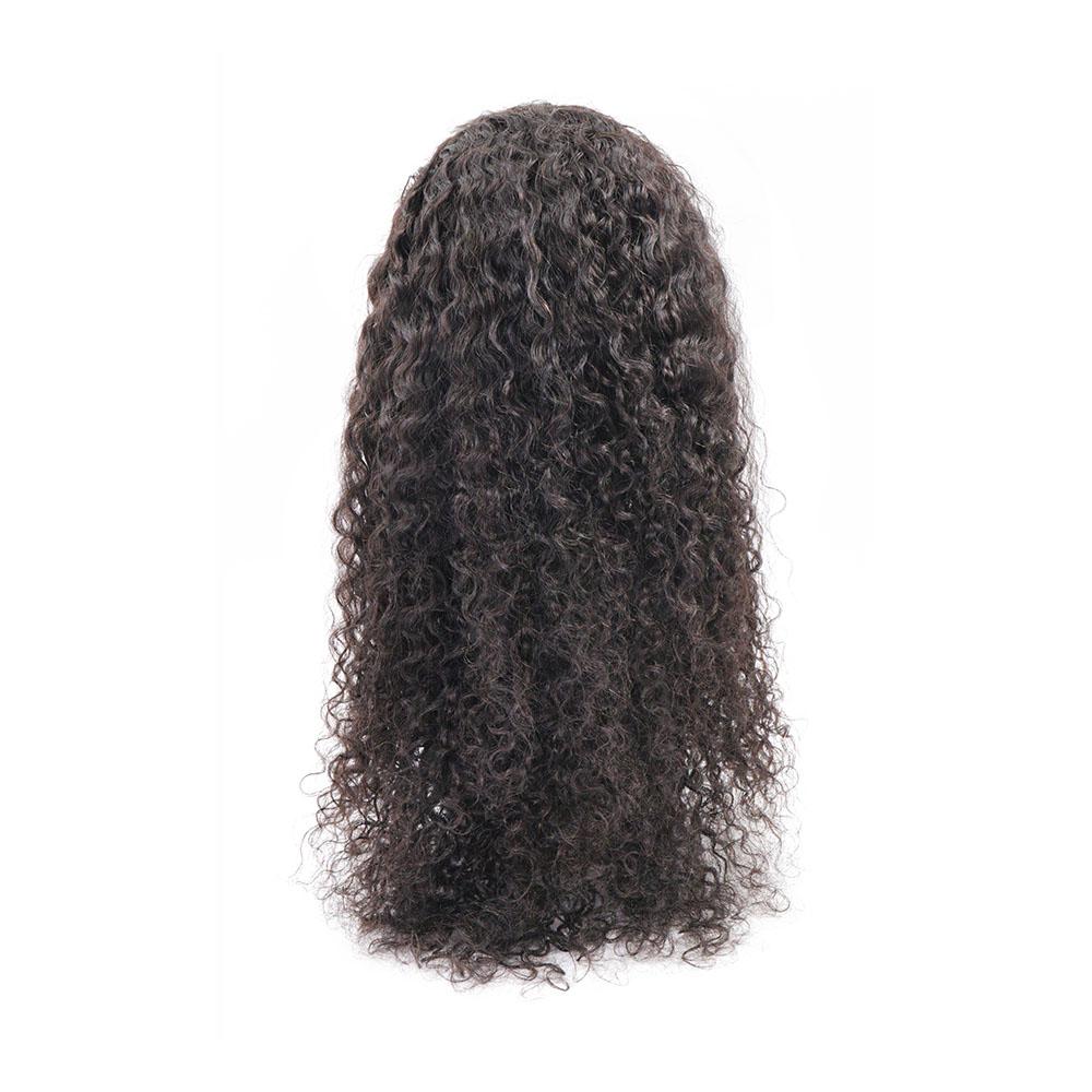 黒人女性のための remy IC 緩い curlyhair 延長バンドルかつら 1B # ロング透明レースインド人毛バンドルペルー