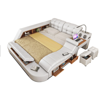 Hot selling king size storage bed with massage music design of multifunction leather bed