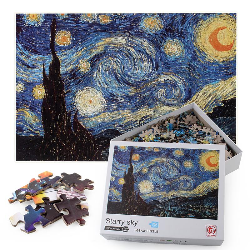 1000 Buah Grosir Jigsaw Puzzle Kustom Dicetak Tebal Chipboard Anak-anak Mainan Pendidikan Puzzle