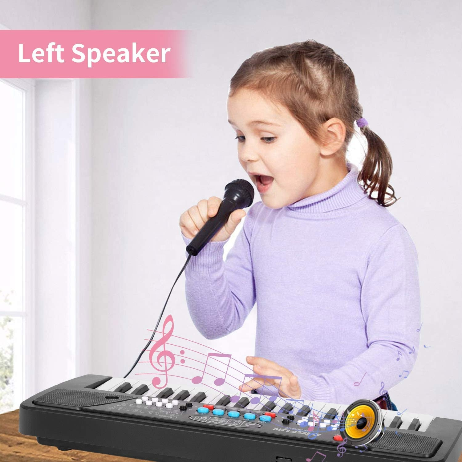 Includes microphone and 4 animal sounds portable piano Electronic Organ toys for child educational