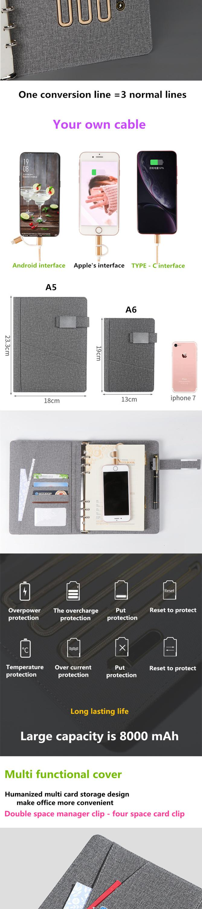 8000mAh Business Gifts Low MOQ Papeleria A4 A5 Luxury Diary 2020 2021 Planner Wireless Charging Notebook with Powerbank and Usb