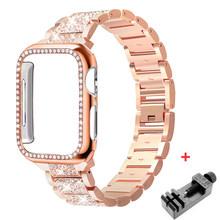 Ремешок для часов iWatch series 5, 4, 3, 2, 1, 40, 44, 38, 42 мм, из нержавеющей стали(Китай)