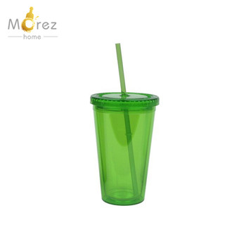 Morezhome 16oz double wall plastic tumbler with lid and handle
