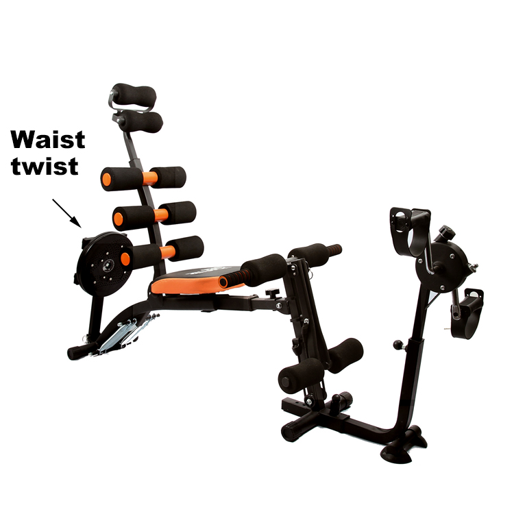 FEDsix in one Multi functional abdominal chair  with Waist twist bicycle pedal fitness bench machine abdominal trainer