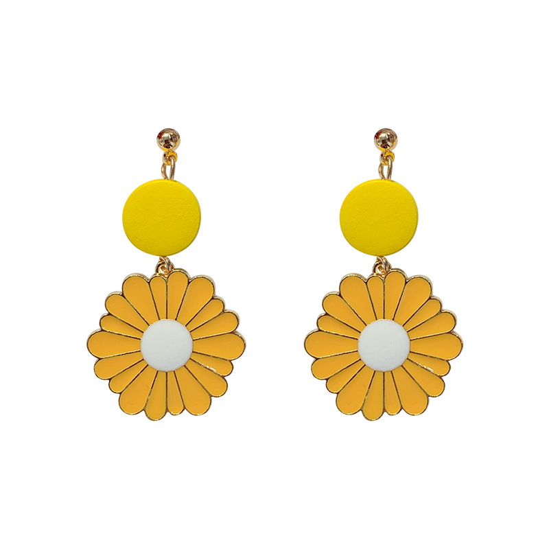 Free sample <strong>flower</strong> <strong>gold</strong> metal dangle <strong>earrings</strong>