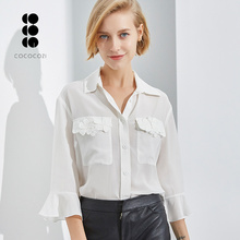 Mode Mooie Zijden Blouses Vrouwen Lange Mouw Casual Kleding Witte Zijde <span class=keywords><strong>Dames</strong></span> Blouses Shirts