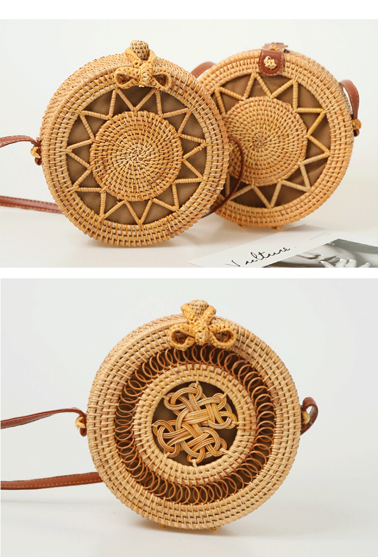 Wholesale bali beach handmade woven round natural  straw rattan shoulder bag for women